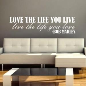 Stenska nalepka Love Life (Bob Marley)