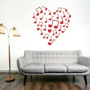 Stenska nalepka Note in srce