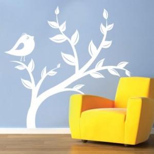 Stenska nalepka Ptič na veji