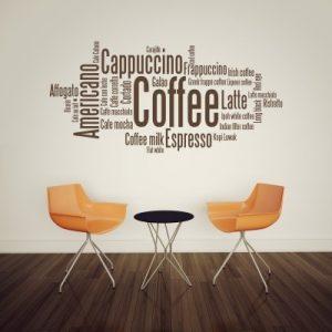 Stenska nalepka Coffee, Cappuccino, Americano