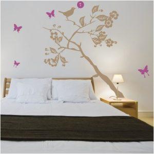 Stenska nalepka Drevo, ptič in metuljčki