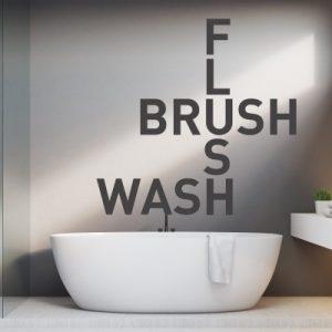 Stenska nalepka Flush, Brush, Wash