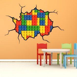 Stenska nalepka LEGO razpoka na steni