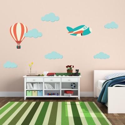 Stenska nalepka Letalo, balon in oblaki