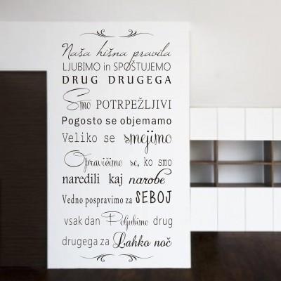 Stenska nalepka Naša hišna pravila 2