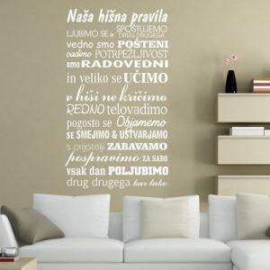 Stenska nalepka Naša hišna pravila