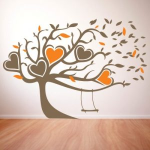 Stenska nalepka Srca na drevesu