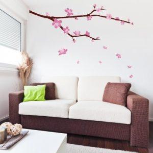 Stenska nalepka Veja z roza cvetovi