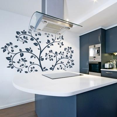 Stenska nalepka Zavito drevo